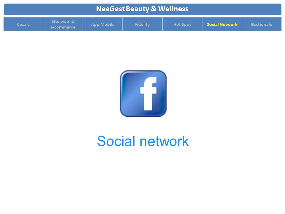 NeaGest Beauty & Wellness Cosa è Sito web & e-commerce App MobileFidelityHot SpotSocial NetworkGestionale Social network