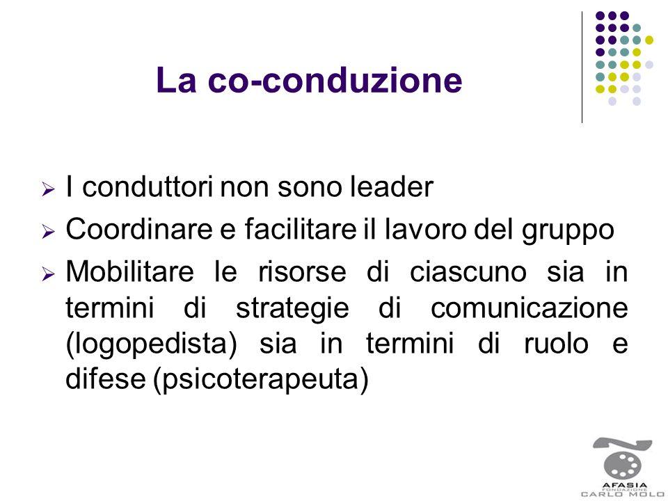 La co-conduzione  I conduttori non sono leader  Coordinare e facilitare il lavoro del gruppo  Mobilitare le risorse di ciascuno sia in termini di s