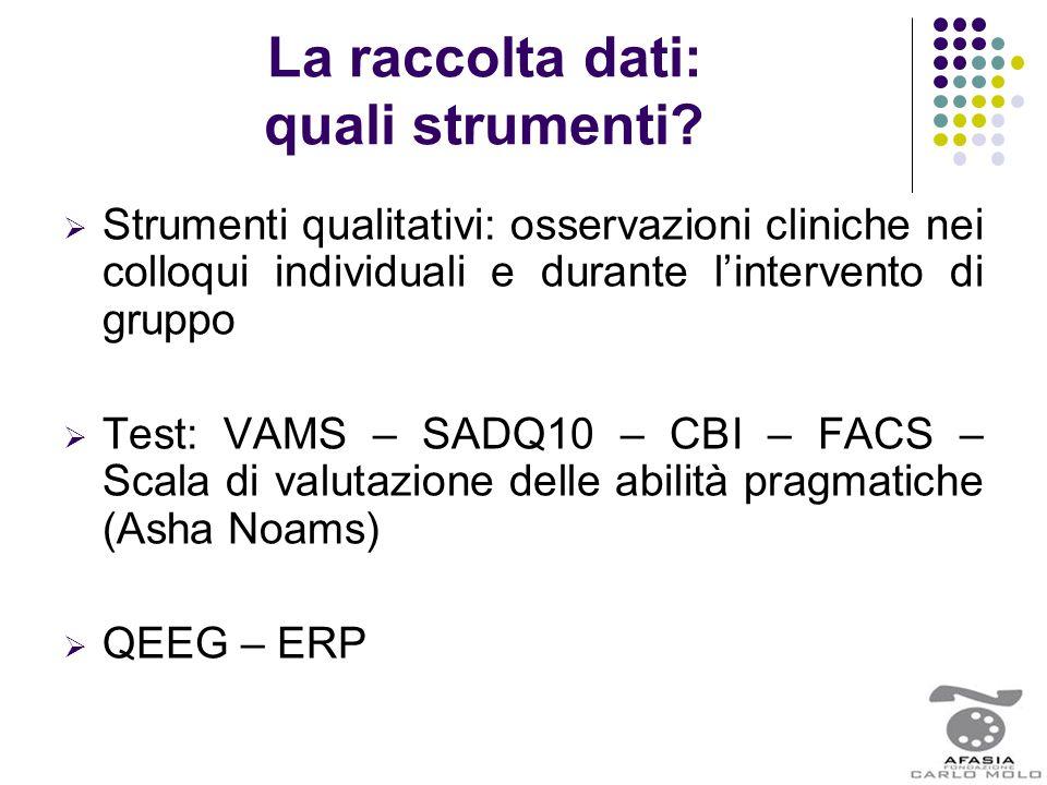 La raccolta dati: quali strumenti?  Strumenti qualitativi: osservazioni cliniche nei colloqui individuali e durante l'intervento di gruppo  Test: VA
