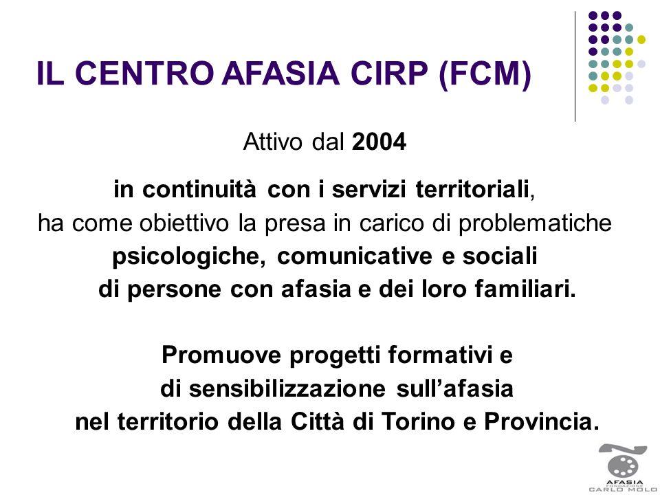 IL CENTRO AFASIA CIRP (FCM) Attivo dal 2004 in continuità con i servizi territoriali, ha come obiettivo la presa in carico di problematiche psicologic