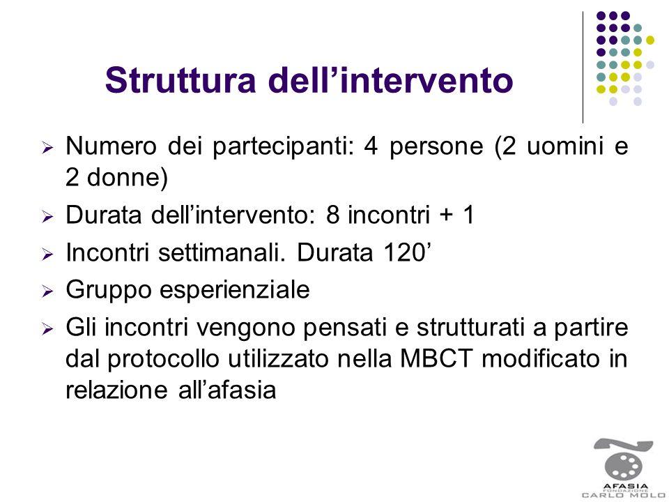 Struttura dell'intervento  Numero dei partecipanti: 4 persone (2 uomini e 2 donne)  Durata dell'intervento: 8 incontri + 1  Incontri settimanali. D