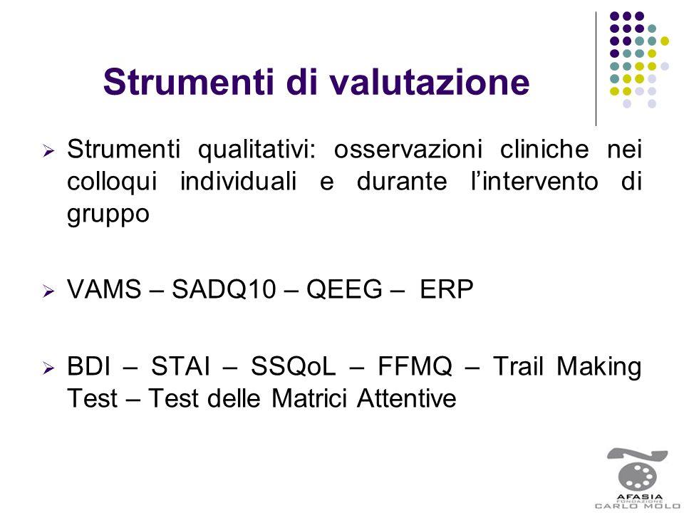 Strumenti di valutazione  Strumenti qualitativi: osservazioni cliniche nei colloqui individuali e durante l'intervento di gruppo  VAMS – SADQ10 – QE