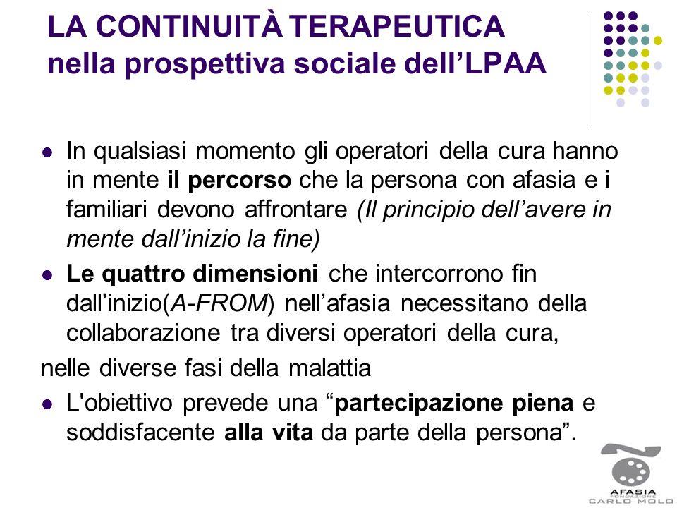 LA CONTINUITÀ TERAPEUTICA nella prospettiva sociale dell'LPAA In qualsiasi momento gli operatori della cura hanno in mente il percorso che la persona