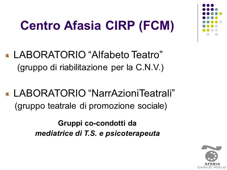 """Centro Afasia CIRP (FCM) LABORATORIO """"Alfabeto Teatro"""" (gruppo di riabilitazione per la C.N.V.) LABORATORIO """"NarrAzioniTeatrali"""" (gruppo teatrale di p"""