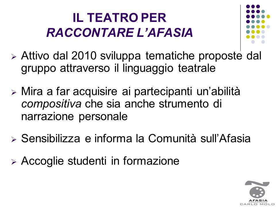 IL TEATRO PER RACCONTARE L'AFASIA  Attivo dal 2010 sviluppa tematiche proposte dal gruppo attraverso il linguaggio teatrale  Mira a far acquisire ai