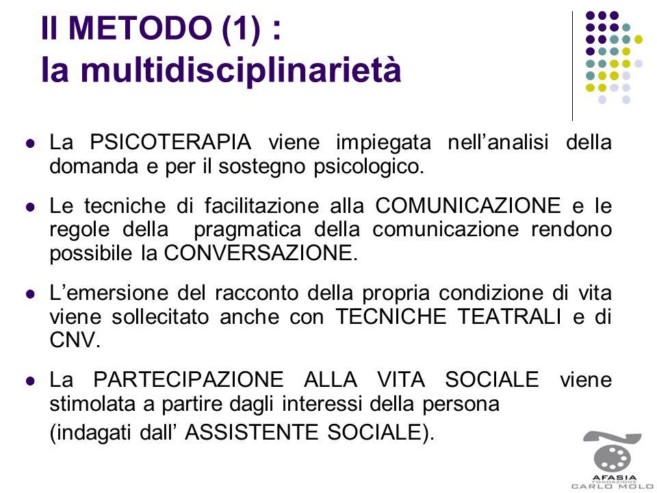 Il METODO (1) : la multidisciplinarietà La PSICOTERAPIA viene impiegata nell'analisi della domanda e per il sostegno psicologico. Le tecniche di facil
