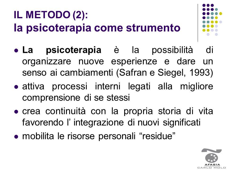 IL METODO (2): la psicoterapia come strumento La psicoterapia è la possibilità di organizzare nuove esperienze e dare un senso ai cambiamenti (Safran