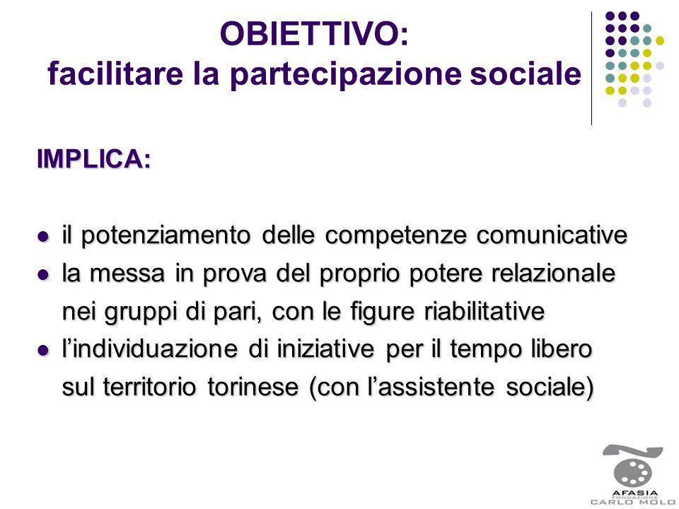 OBIETTIVO: facilitare la partecipazione socialeIMPLICA: il potenziamento delle competenze comunicative il potenziamento delle competenze comunicative