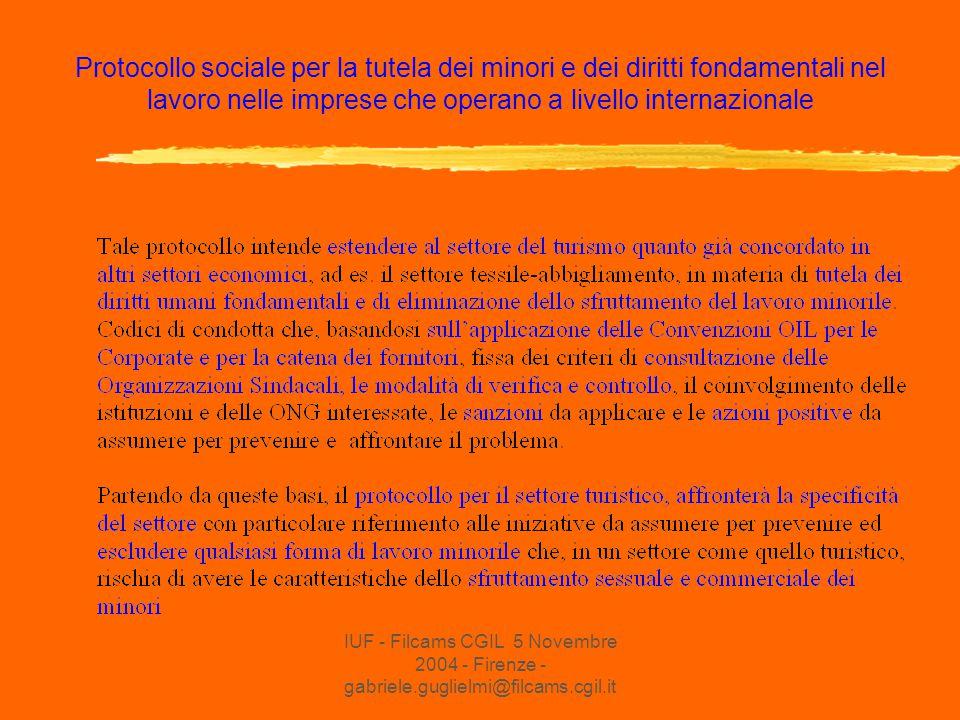 Protocollo sociale per la tutela dei minori e dei diritti fondamentali nel lavoro nelle imprese che operano a livello internazionale