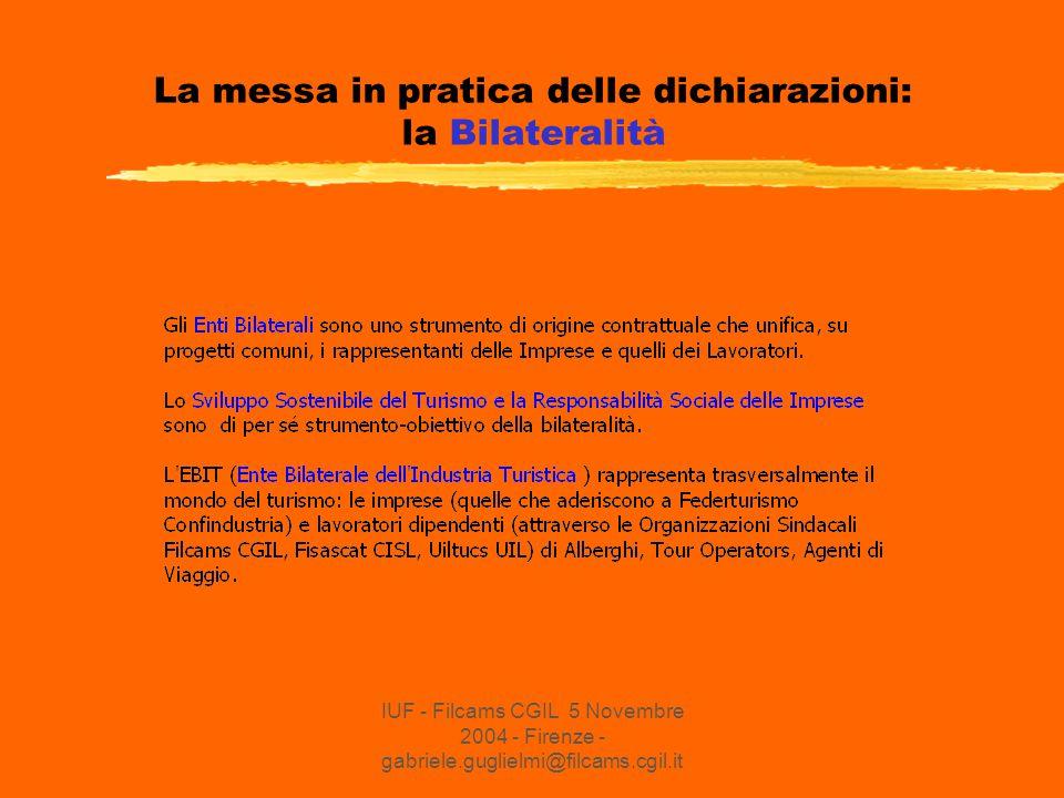 IUF - Filcams CGIL 5 Novembre 2004 - Firenze - gabriele.guglielmi@filcams.cgil.it La messa in pratica delle dichiarazioni: la Bilateralità