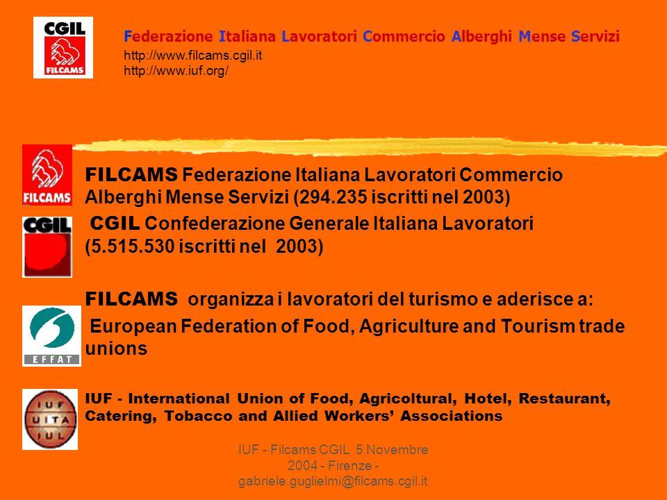 IUF - Filcams CGIL 5 Novembre 2004 - Firenze - gabriele.guglielmi@filcams.cgil.it FILCAMS Federazione Italiana Lavoratori Commercio Alberghi Mense Servizi (294.235 iscritti nel 2003) CGIL Confederazione Generale Italiana Lavoratori (5.515.530 iscritti nel 2003) FILCAMS organizza i lavoratori del turismo e aderisce a: European Federation of Food, Agriculture and Tourism trade unions IUF - International Union of Food, Agricoltural, Hotel, Restaurant, Catering, Tobacco and Allied Workers' Associations Federazione Italiana Lavoratori Commercio Alberghi Mense Servizi http://www.filcams.cgil.it http://www.iuf.org/
