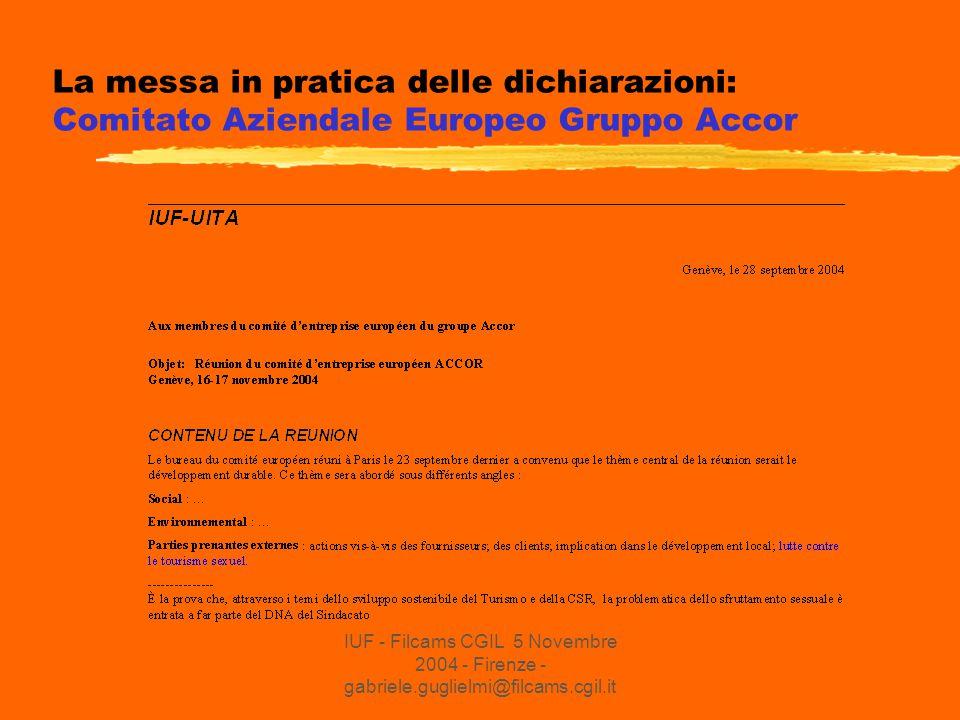 IUF - Filcams CGIL 5 Novembre 2004 - Firenze - gabriele.guglielmi@filcams.cgil.it La messa in pratica delle dichiarazioni: Comitato Aziendale Europeo Gruppo Accor