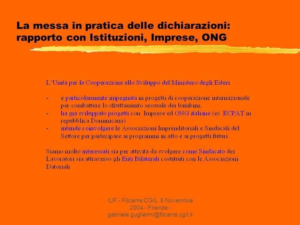 IUF - Filcams CGIL 5 Novembre 2004 - Firenze - gabriele.guglielmi@filcams.cgil.it La messa in pratica delle dichiarazioni: rapporto con Istituzioni, Imprese, ONG