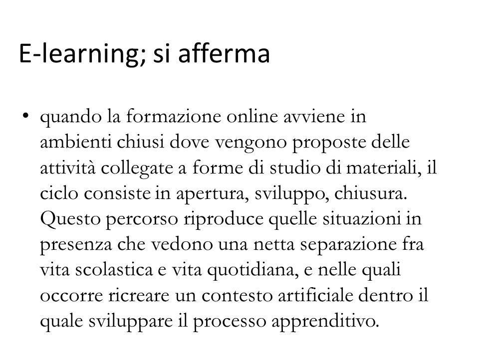 quando la formazione online avviene in ambienti chiusi dove vengono proposte delle attività collegate a forme di studio di materiali, il ciclo consist