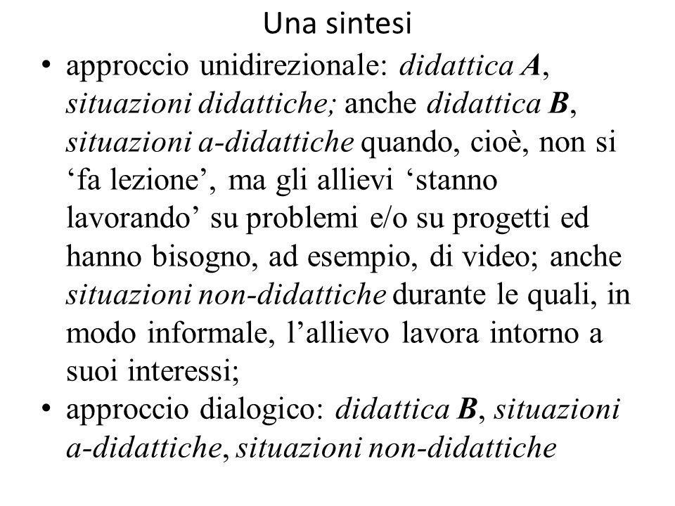 Una sintesi approccio unidirezionale: didattica A, situazioni didattiche; anche didattica B, situazioni a-didattiche quando, cioè, non si 'fa lezione'