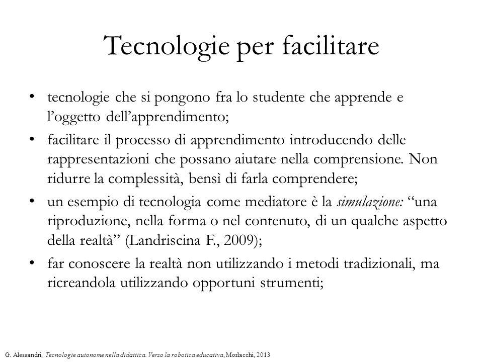 Tecnologie per facilitare tecnologie che si pongono fra lo studente che apprende e l'oggetto dell'apprendimento; facilitare il processo di apprendimen