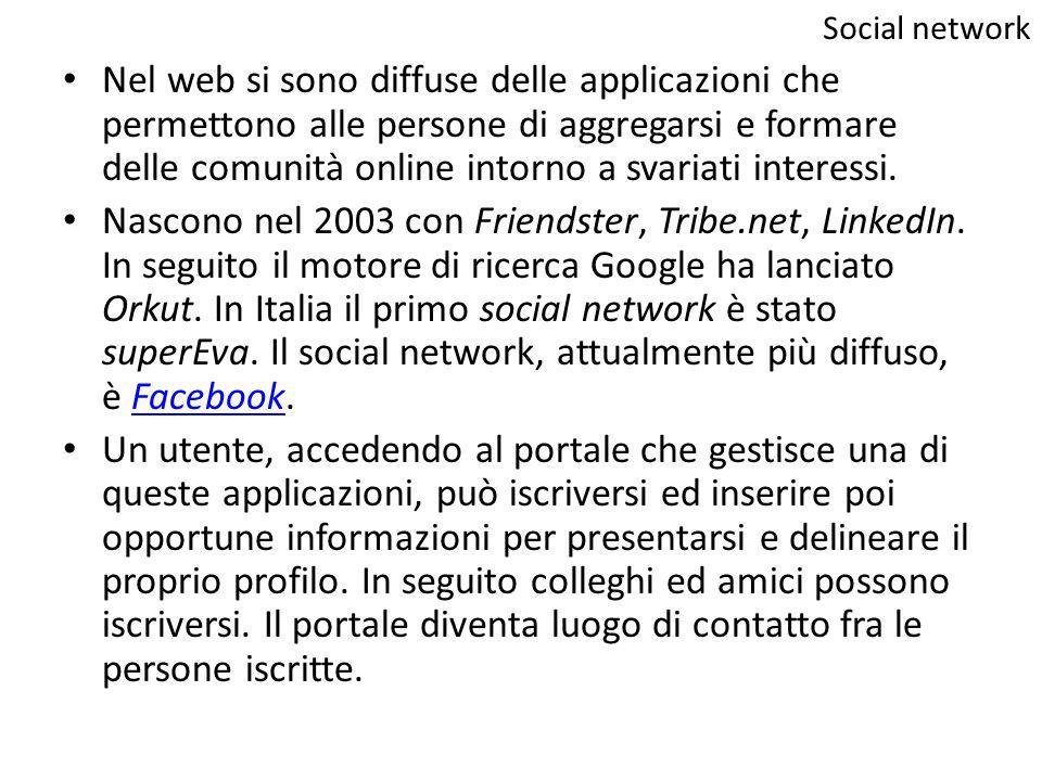 Nel web si sono diffuse delle applicazioni che permettono alle persone di aggregarsi e formare delle comunità online intorno a svariati interessi. Nas