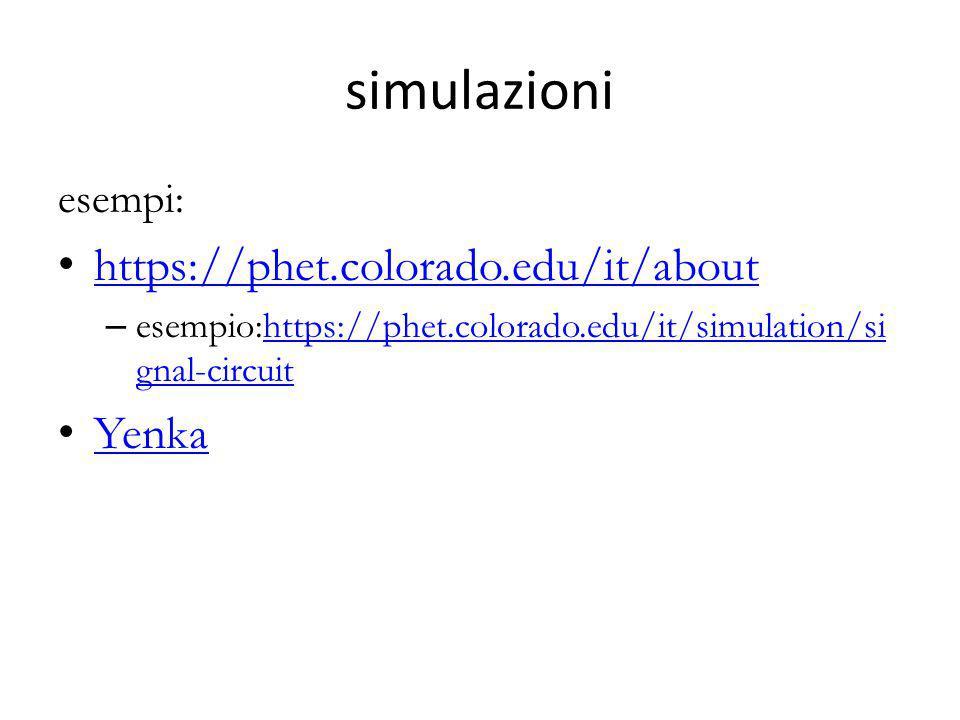 simulazioni esempi: https://phet.colorado.edu/it/about – esempio:https://phet.colorado.edu/it/simulation/si gnal-circuithttps://phet.colorado.edu/it/s