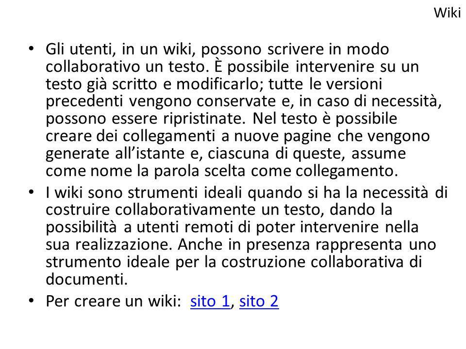 Gli utenti, in un wiki, possono scrivere in modo collaborativo un testo. È possibile intervenire su un testo già scritto e modificarlo; tutte le versi
