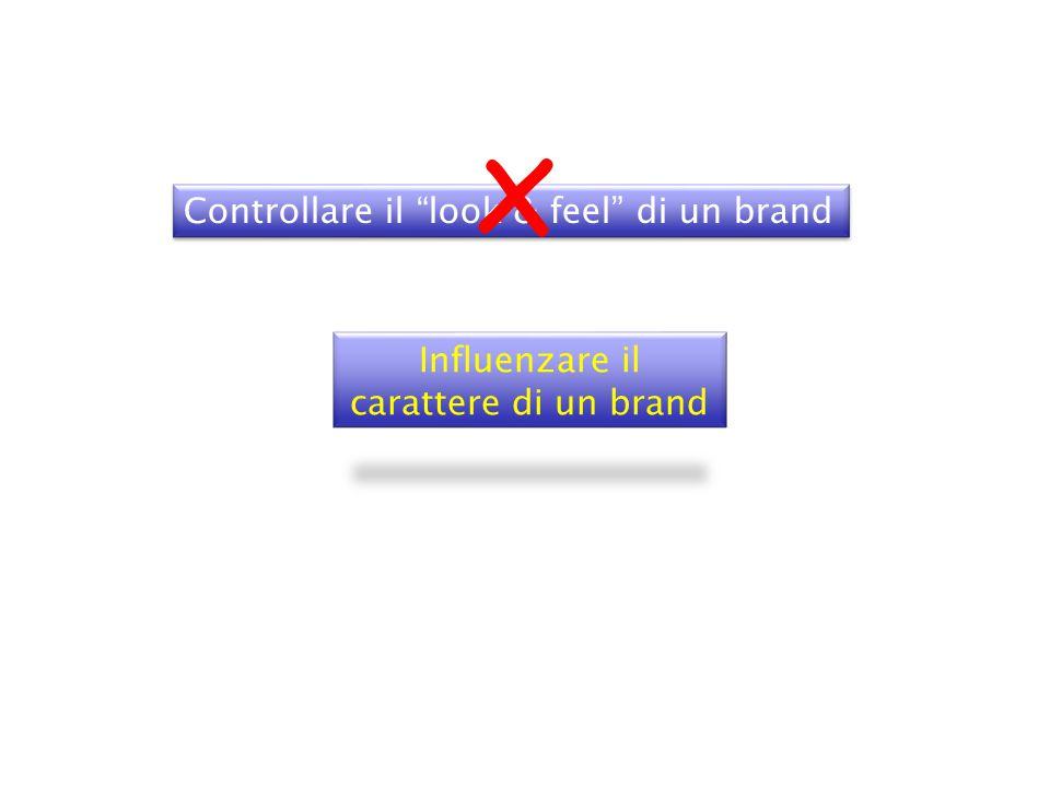 Controllare il look & feel di un brand Influenzare il carattere di un brand x