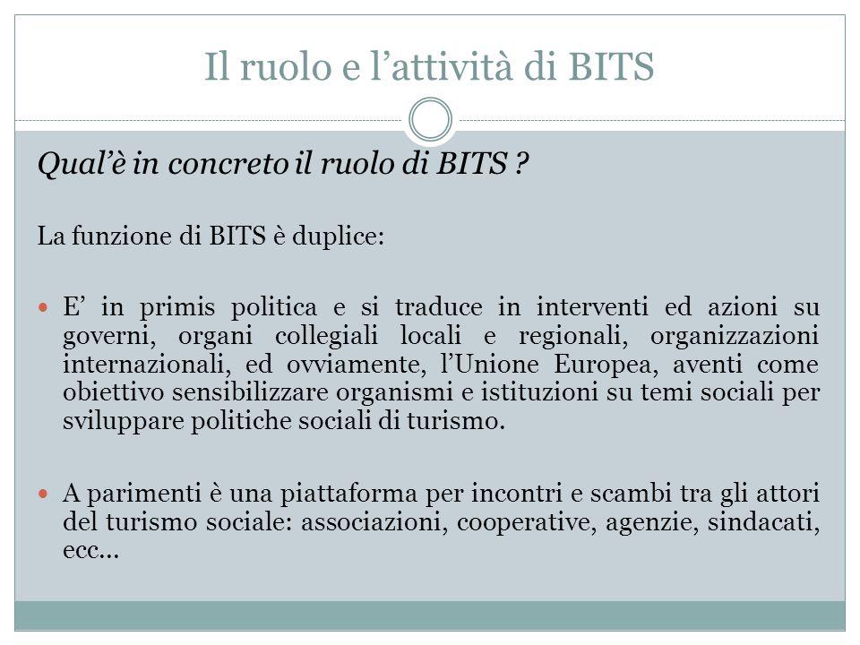 Il ruolo e l'attività di BITS Qual'è in concreto il ruolo di BITS .