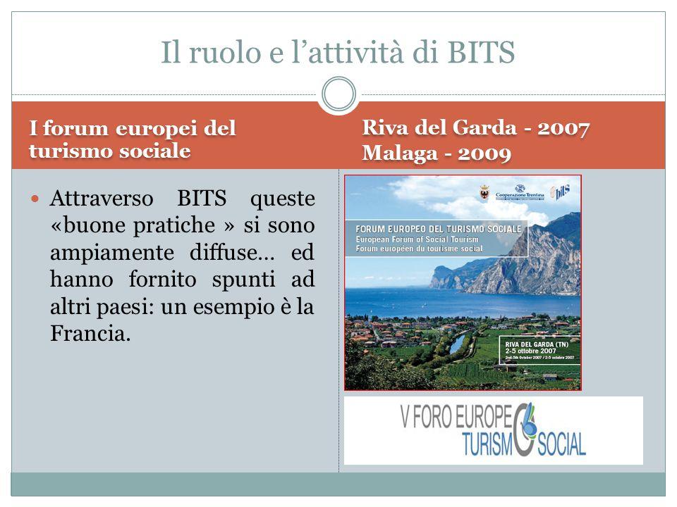 I forum europei del turismo sociale Riva del Garda - 2007 Malaga - 2009 Attraverso BITS queste «buone pratiche » si sono ampiamente diffuse… ed hanno fornito spunti ad altri paesi: un esempio è la Francia.