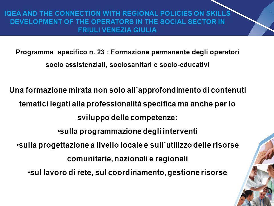 24 Programma specifico n. 23 : Formazione permanente degli operatori socio assistenziali, sociosanitari e socio-educativi Una formazione mirata non so