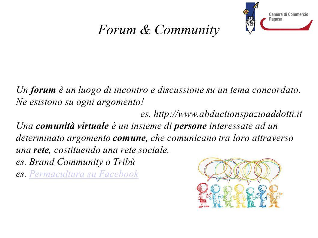 Forum & Community Un forum è un luogo di incontro e discussione su un tema concordato. Ne esistono su ogni argomento! es. http://www.abductionspazioad