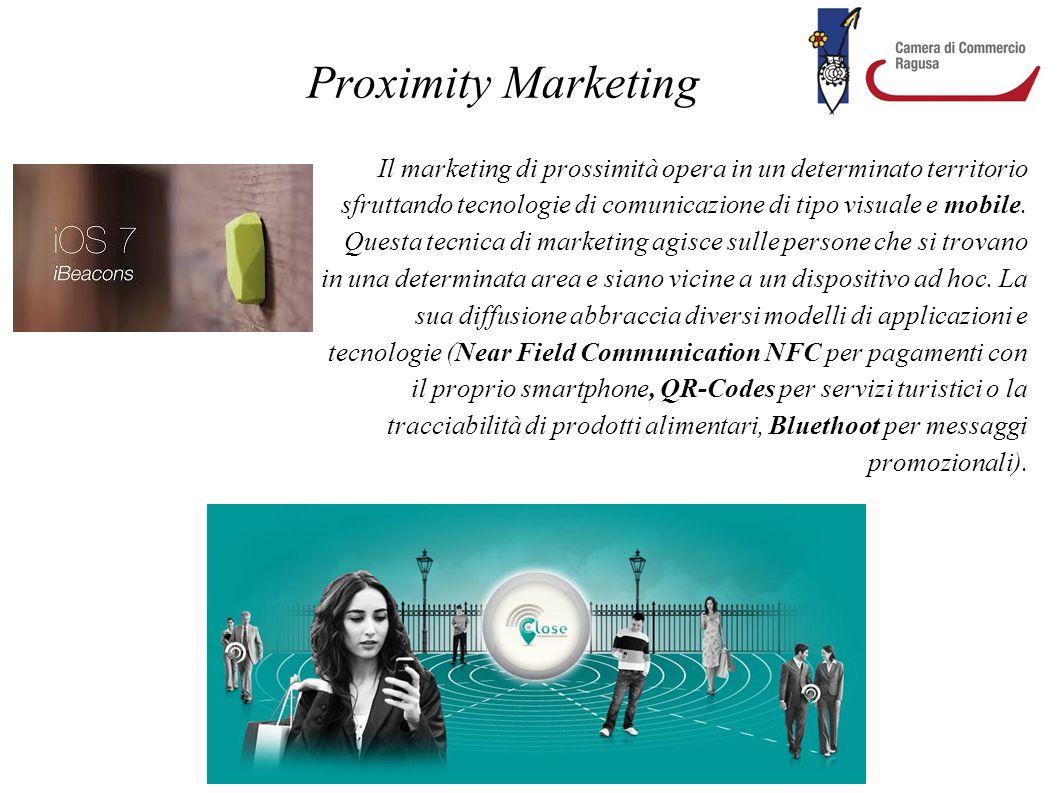 Proximity Marketing Il marketing di prossimità opera in un determinato territorio sfruttando tecnologie di comunicazione di tipo visuale e mobile. Que