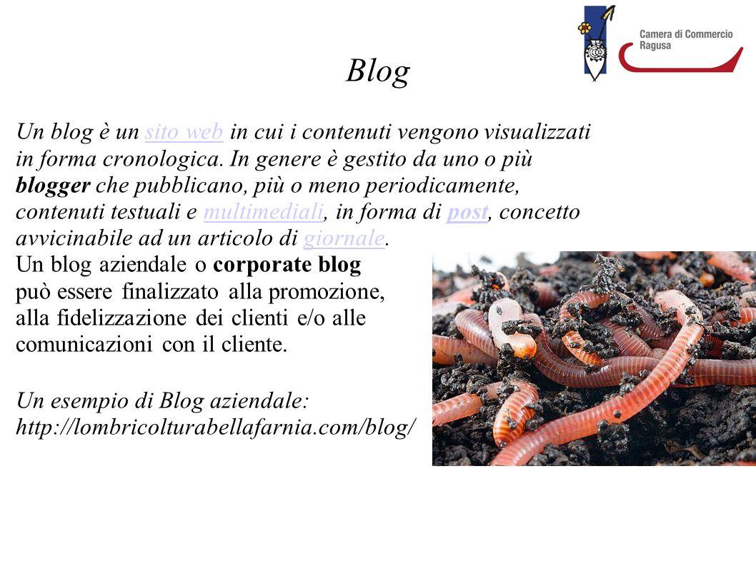 Blog Un blog è un sito web in cui i contenuti vengono visualizzati in forma cronologica. In genere è gestito da uno o più blogger che pubblicano, più