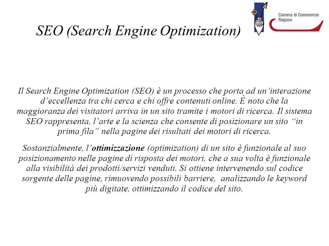 SEO (Search Engine Optimization) Il Search Engine Optimization (SEO) è un processo che porta ad un'interazione d'eccellenza tra chi cerca e chi offre
