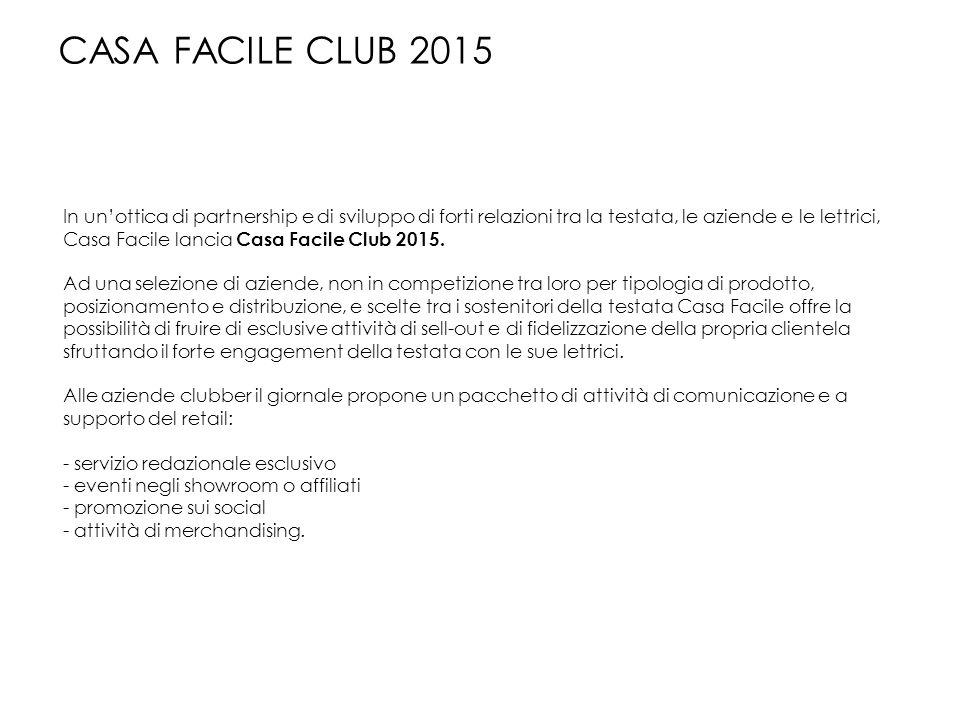 In un'ottica di partnership e di sviluppo di forti relazioni tra la testata, le aziende e le lettrici, Casa Facile lancia Casa Facile Club 2015. Ad un