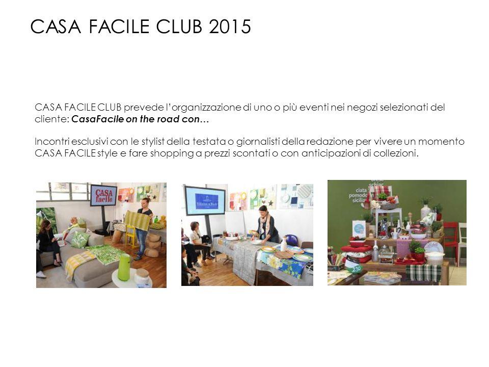 CASA FACILE CLUB prevede l'organizzazione di uno o più eventi nei negozi selezionati del cliente: CasaFacile on the road con… Incontri esclusivi con l