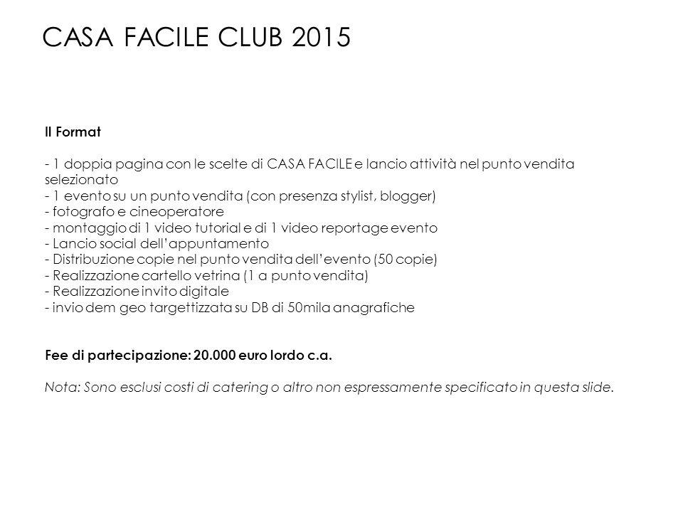 Il Format - 1 doppia pagina con le scelte di CASA FACILE e lancio attività nel punto vendita selezionato - 1 evento su un punto vendita (con presenza