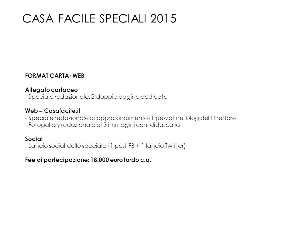 FORMAT CARTA+WEB Allegato cartaceo - Speciale redazionale: 2 doppie pagine dedicate Web – Casafacile.it - Speciale redazionale di approfondimento (1 p