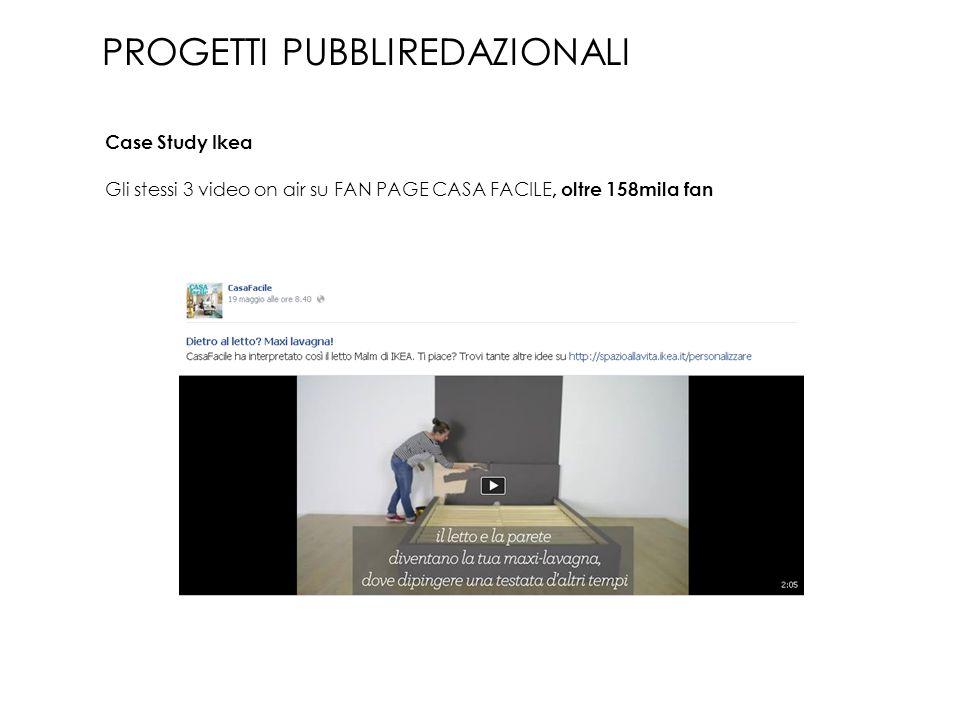 Gli stessi 3 video on air su FAN PAGE CASA FACILE, oltre 158mila fan PROGETTI PUBBLIREDAZIONALI Case Study Ikea