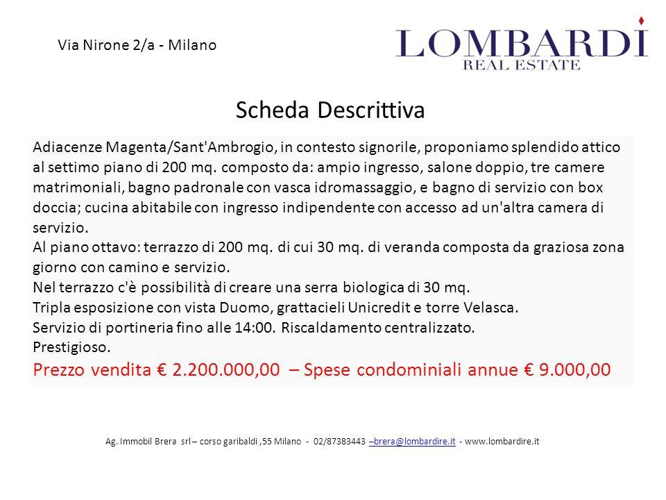 Scheda Descrittiva Via Nirone 2/a - Milano Ag.