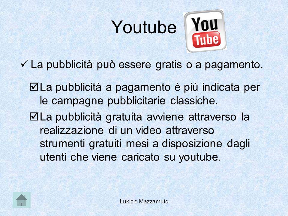 Lukic e Mazzamuto Youtube La pubblicità può essere gratis o a pagamento.