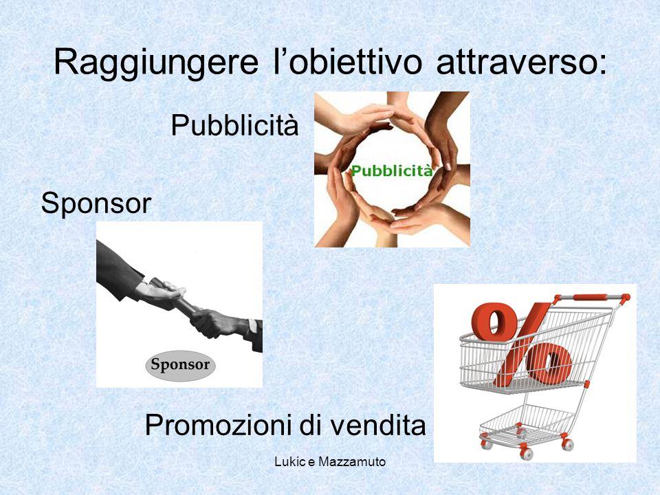 Lukic e Mazzamuto Raggiungere l'obiettivo attraverso: Pubblicità Sponsor Promozioni di vendita