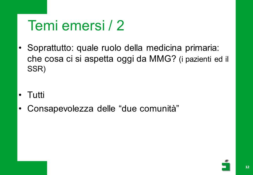 Temi emersi / 2 Soprattutto: quale ruolo della medicina primaria: che cosa ci si aspetta oggi da MMG.