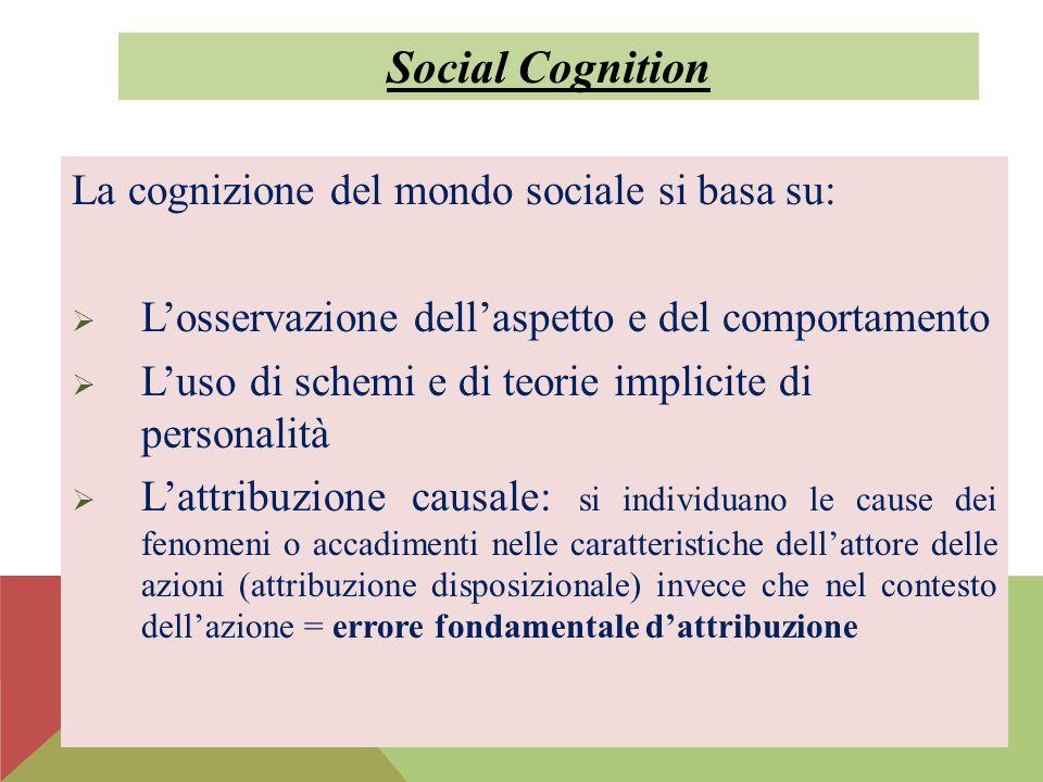 La cognizione del mondo sociale si basa su:  L'osservazione dell'aspetto e del comportamento  L'uso di schemi e di teorie implicite di personalità 