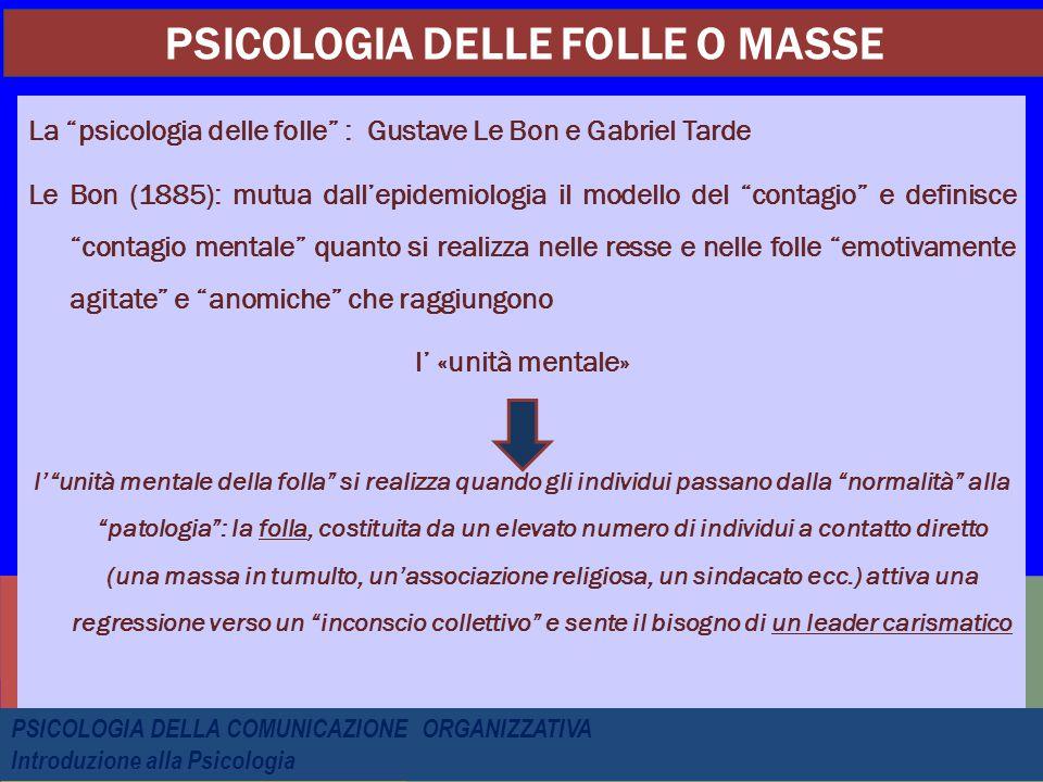 """La """"psicologia delle folle"""" : Gustave Le Bon e Gabriel Tarde Le Bon (1885): mutua dall'epidemiologia il modello del """"contagio"""" e definisce """"contagio m"""