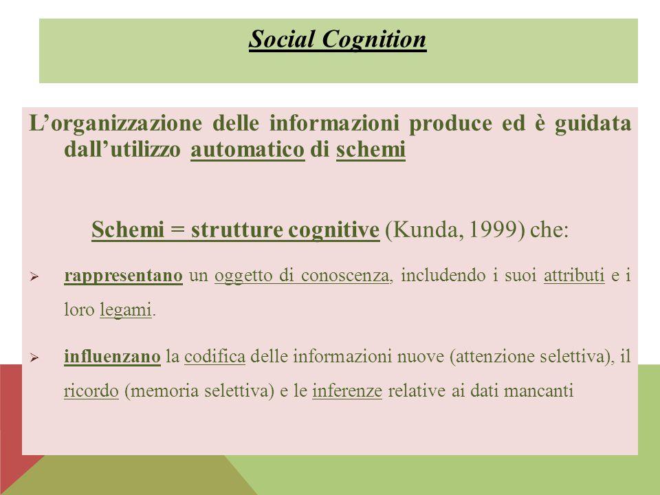 L'organizzazione delle informazioni produce ed è guidata dall'utilizzo automatico di schemi Schemi = strutture cognitive (Kunda, 1999) che:  rapprese