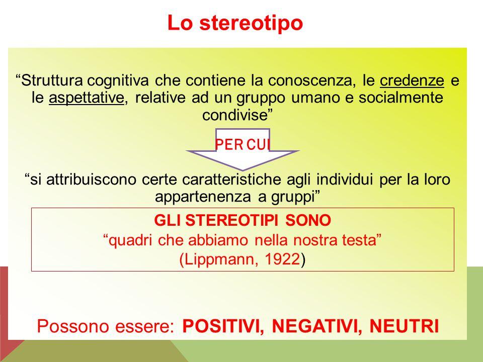 """Lo stereotipo """"Struttura cognitiva che contiene la conoscenza, le credenze e le aspettative, relative ad un gruppo umano e socialmente condivise"""" """"si"""