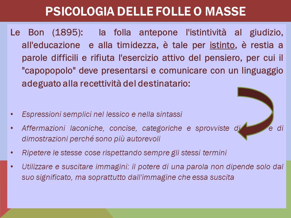 Tarde(1890): l'individuo nella folla si deresponsabilizza, diventa infantile e primitivo, esercita meno autocontrollo e non agisce razionalmente e con coscienza (preludio al comportamento delinquenziale), è in uno stato di sonnambulismo sociale e imita modelli comportamentali altrui  La dinamica della vita sociale: 1.Desiderio: motivazione dell'azione 2.Invenzione: produzione di nuove idee (modelli: pochi individui/leaders carismatici) 3.Relazione: interazione di 1 e 2 PSICOLOGIA DELLA COMUNICAZIONE ORGANIZZATIVA Introduzione alla Psicologia PSICOLOGIA DELLE FOLLE O MASSE