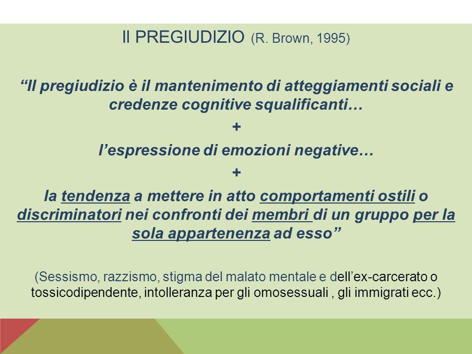"""Il PREGIUDIZIO (R. Brown, 1995) """"Il pregiudizio è il mantenimento di atteggiamenti sociali e credenze cognitive squalificanti… + l'espressione di emoz"""