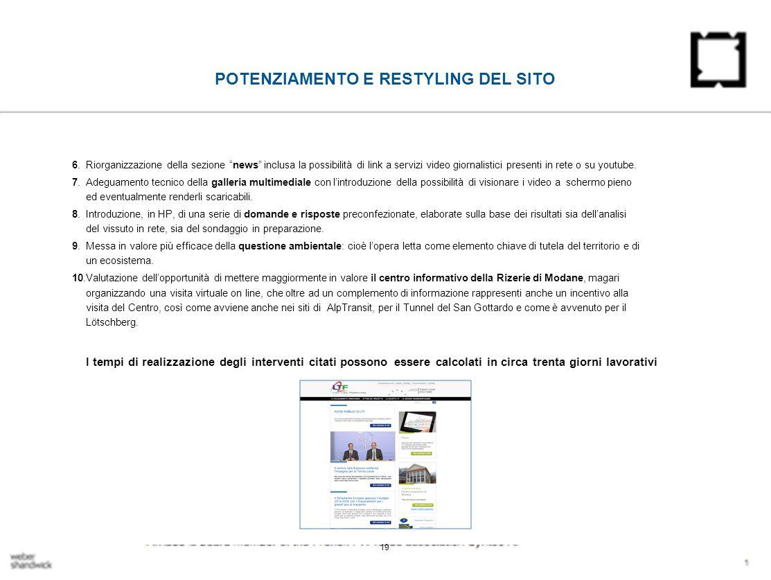 POTENZIAMENTO E RESTYLING DEL SITO 6.