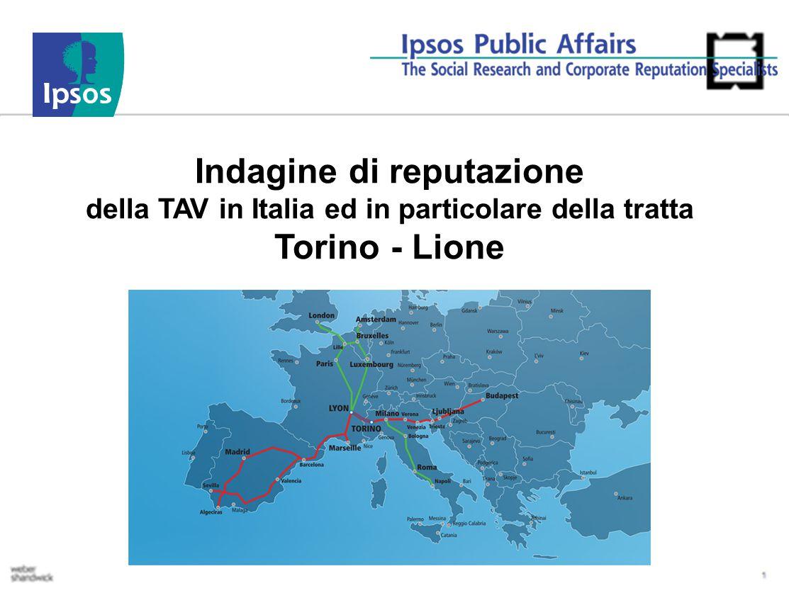 Indagine di reputazione della TAV in Italia ed in particolare della tratta Torino - Lione