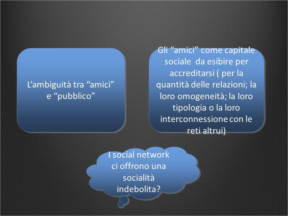 """L'ambiguità tra """"amici"""" e """"pubblico"""" Gli """"amici"""" come capitale sociale da esibire per accreditarsi ( per la quantità delle relazioni; la loro omogenei"""