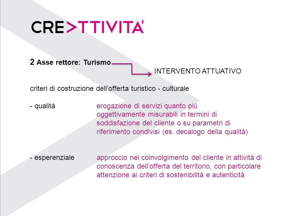 2 Asse rettore: Turismo INTERVENTO ATTUATIVO criteri di costruzione dell'offerta turistico - culturale - qualitàerogazione di servizi quanto più oggettivamente misurabili in termini di soddisfazione del cliente o su parametri di riferimento condivisi (es.